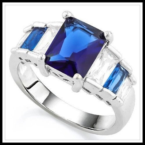 Blue & White Sapphire Ring SM9211