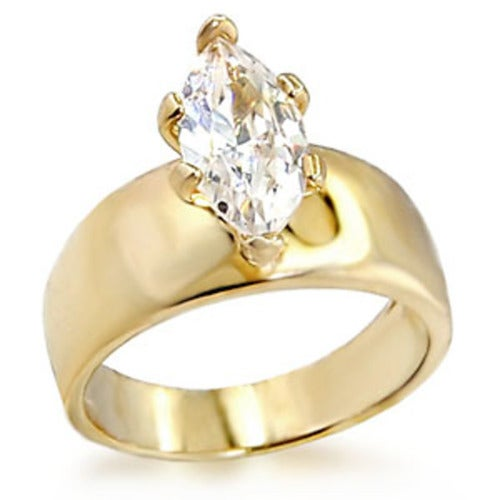 Yellow Gold Plated Classic Design Marquise Solitaire 4.09 ct CZ Ring
