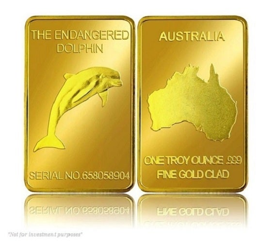 Endangered Dolphin Gold Series - This Beautiful 24k Gold Clad Collectors Series Bar