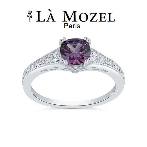 Luxury Collection Beautiful Excellent Cut 2 Carat Highly Graded Genuine Purple Princess Cut Ring