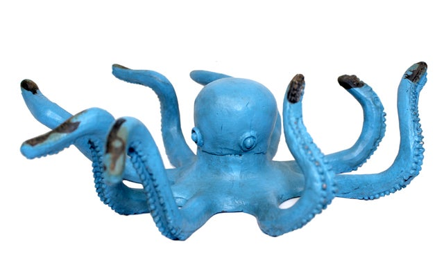 Blue Octopus Tabletop Figurine Painted Cast Iron 6.5 Inches