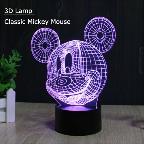 Cool Gift 3D Optical Illusion Mickey Mouse Panel Model Lighting Night LED Desk Table Light Lamp