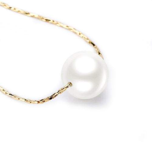 Lovely Faux Pearl Pendant Necklace Finished in Rose Gold Plated Textured Twist Link Necklace