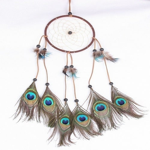 Handmade Peacock Feather and Beads Decorated Wall Hanging Wind Chime Dream Catcher