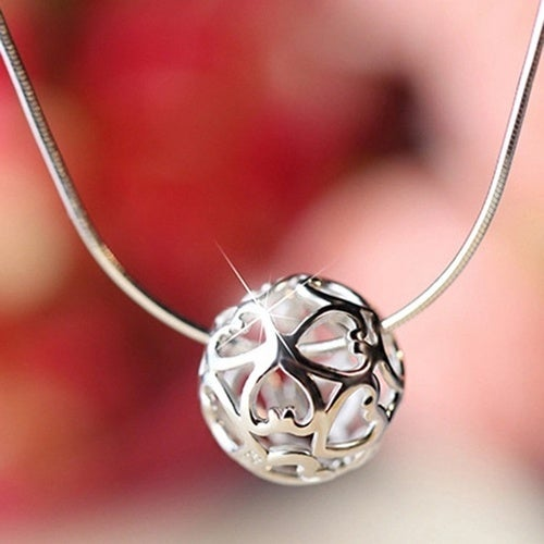 Sterling Silver Hollow Ball Pendant Clavicle Chain Jewelry