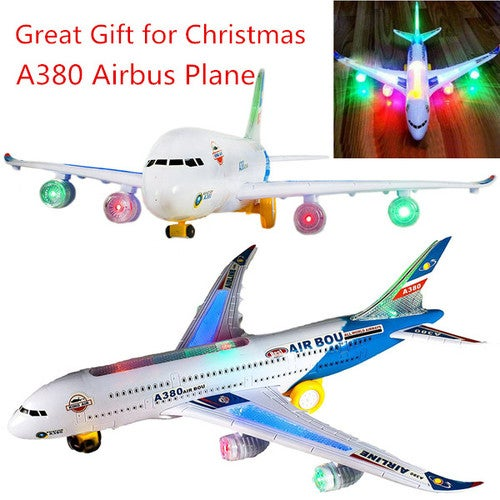 ELECTRIC TOY WITH LIGHT & MUSIC KIDS AIRPLANE AIRBUS A380/747 BUMP AND GO TOYS