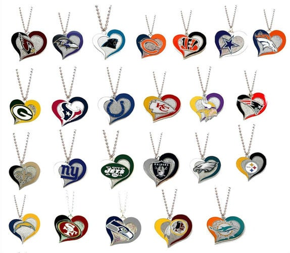 Enamel Swirl Heart NFL Football Necklaces..Your choose while they last