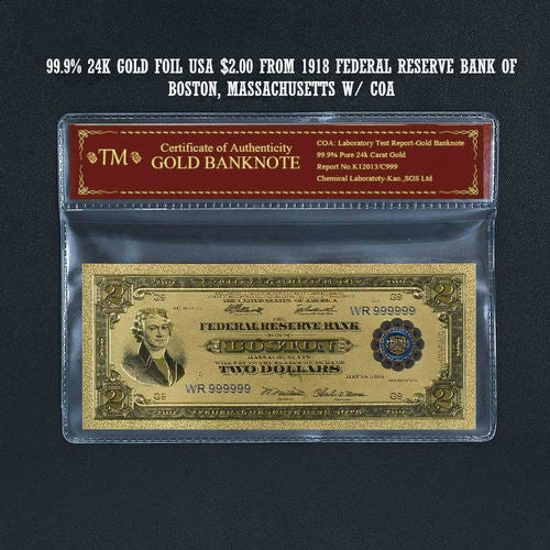 99.9% 24k Gold Foil Polymer Collectors 1918 US $2 with Certificate of Authenticity