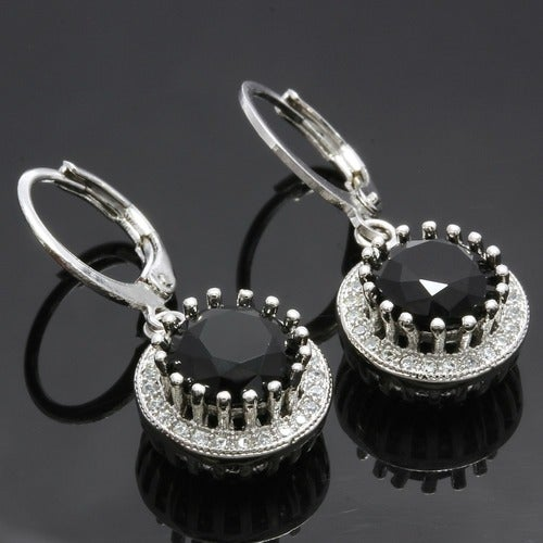 3.95ctw 14k White Gold Filled, Beautifully Created Fine Black & White Sapphire Earrings sm9269