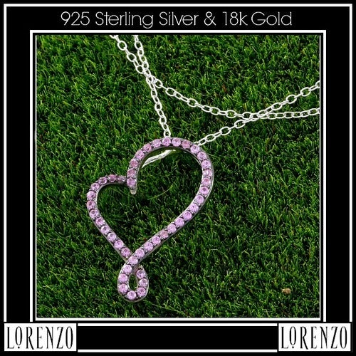 .925 Sterling Silver& 18k White Gold, Pink Sapphire Necklace Designed by High-End Designer ColoreSG Lorenzo LGlam7066q Glamouresq.com