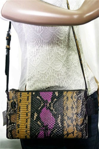Coach 37172 Crosby Exotic Wildflower Multi Exotic Python Leather Crossbody