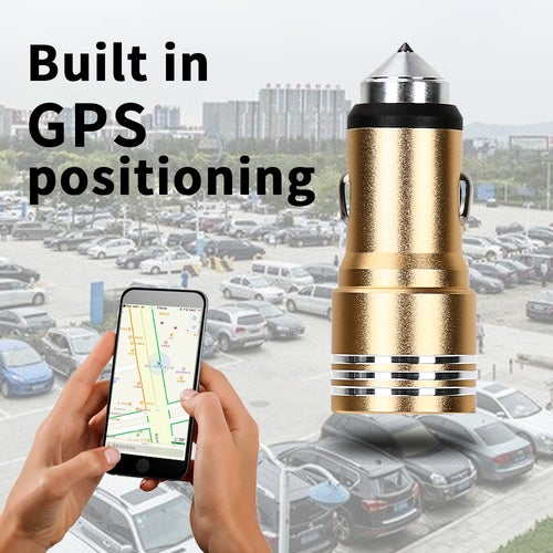 2 in 1 12V-24V Dual USB 5V 1A/3.4A Car Charger Power Adapter Safety Hammer with GPS Positioning Locator For Smartphone