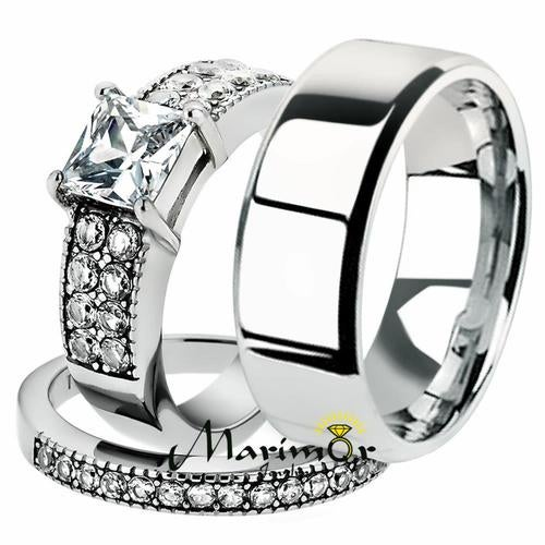 His & Her 3pc Stainless Steel 2.07 Ct Cz Bridal Ring Set & Men Beveled Edge Band