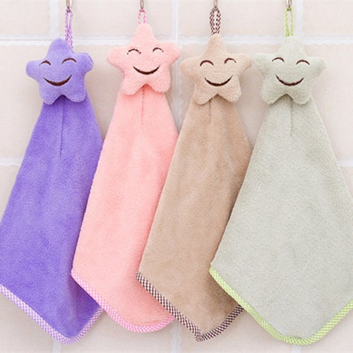 Quick-drying Smiling Face Hanging Hand Towels Kitchen...