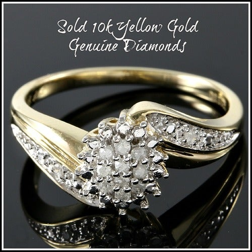 Solid 10k Yellow Gold, 0.10ctw Genuine Diamonds Cluster Ring #glamgold4789
