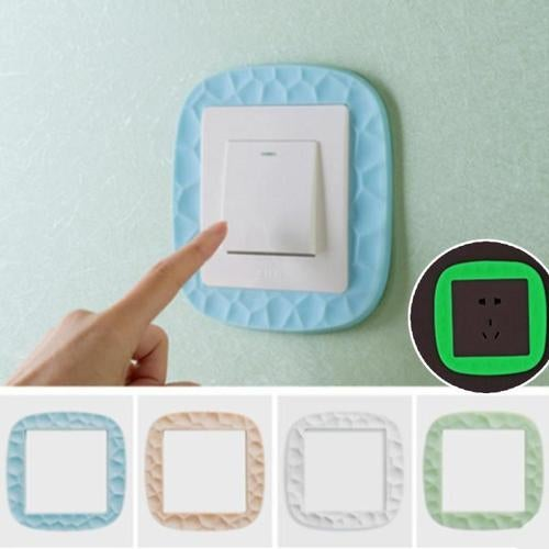 Simple luminous switch wall sticker power socket decorative stickers silicone switch sets of protective cover home decor 40