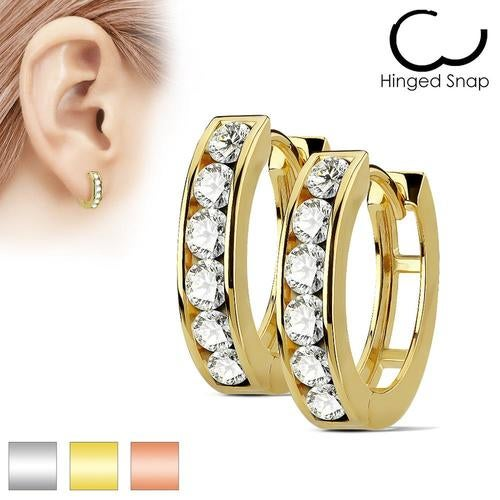 Pair of Channel Set Lined CZ 316L Surgical Steel Post Hoop Earrings