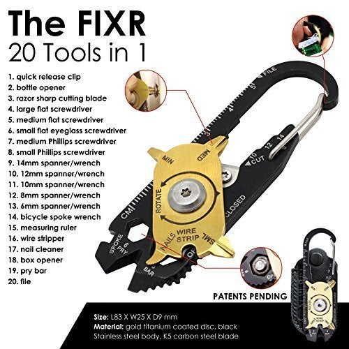 20 in 1 Portable EDC Portable Mini Utility Pocket Multipurpose Tool Keychain Outdoor Camping Key Ring