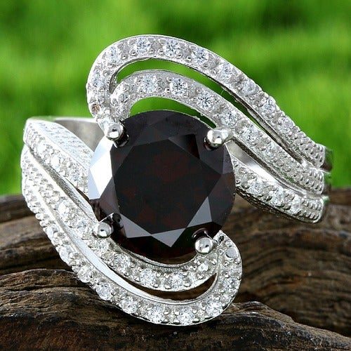 New 2017- Solid .925 Sterling Silver/18k White Gold 4.85ct GARNET and White Sapphire Ring Glamssil8876