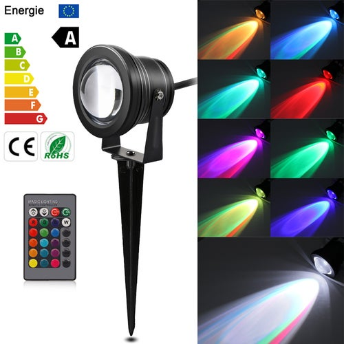 10W RGB LED Lawn Light Remote Control Garden Floodlight with Spike for Yard Patio Path Spotlight Lamp Waterproof AC 12V
