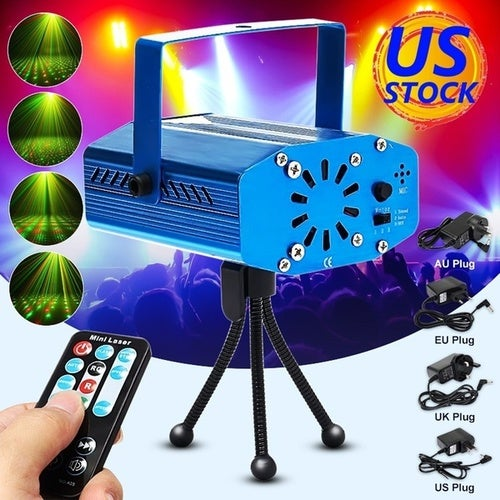 SHIP TO USA AU 2-5 DAYS 4 Colors Aluminum Mini Auto/Voice Music Control Laser Light RNG Home Party DJ Disco Party Wedding LED Laser Stage Light Lamp Projector + Remote Control Gifts Color: Blue Red Black Silver