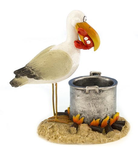 Funny Beach Bird Cooking Crab  in Pot Shelf or Tabletop Figurine