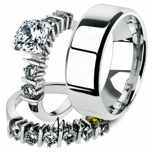 His & Her 3pc Stainless Steel 2.38 Ct Cz Bridal Ring Set & Men Beveled Edge Band