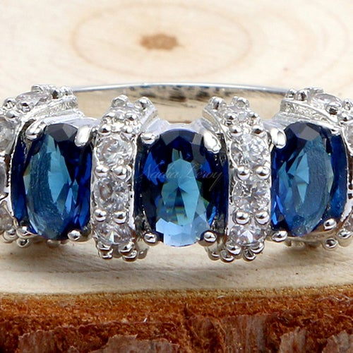 Stunning  Sapphire & White Sapphires Sterling Silver 925 Ring
