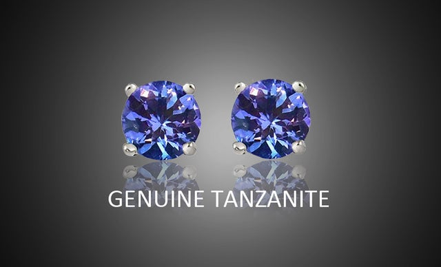 Stunning .925 Silver Genuine Tanzanite Stud Earings
