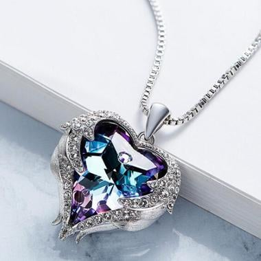 18K white gold filled big heart Crystal necklace