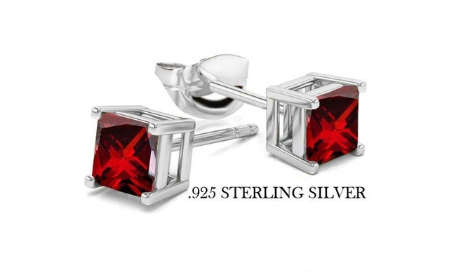 .925 Sterling Silver Emerald Cut Lab Created Ruby Stud Earring Basket