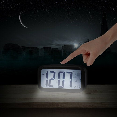LED Digital Electronic Alarm Clock Backlight Time With Calendar + Thermometer