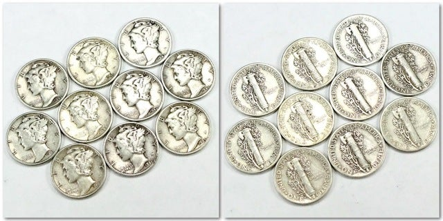 Lot of *Authentic* (90 % Silver) Mercury Dimes... Receive one pictured
