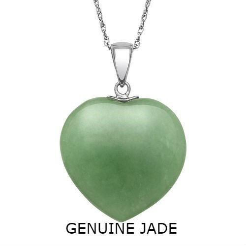 Natural Jade Gemstone Heart Pendant Necklace