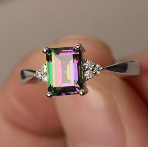 Vintage Square Rainbow Stone Fashion Women's 925 Silver Ring Jewelry Gift