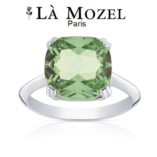 7.44 Carat CZ Green Amethyst Cushion Cut Ring Made with White Gold Over Brass- Size 5 - 10