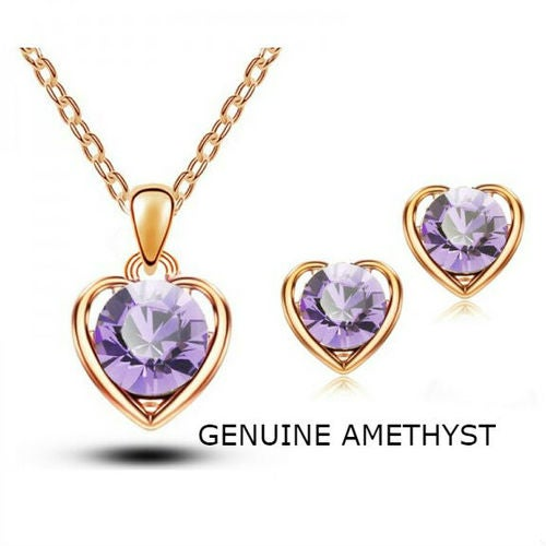 18kt Gold Plated Genuine Amethyst Heart Set