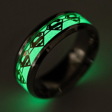 Stainless Steel Luminous Superman ring