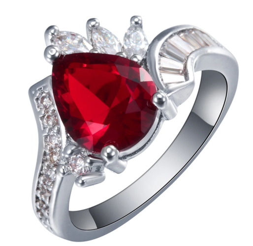 Gorgeous WGP red and clear cz wedding engagement ring.