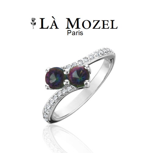 18K White Gold Over Brass Double Gemstone With CZ Accents Ring