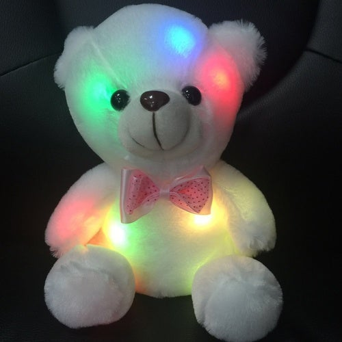 Home Decor New Colorful Night Light LED White Teddy Bear Plush Toys Xmas Gift Baby Birthday Valentines Gift