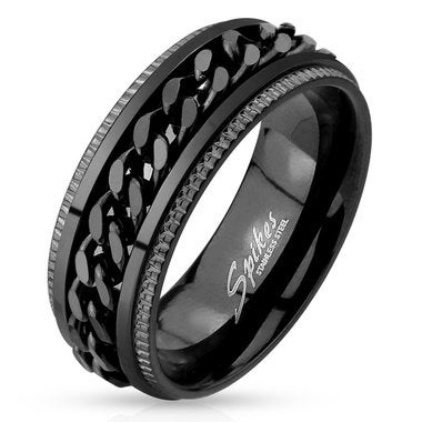 Black IP Grooved Edge Center Chain Stainless Steel Spinner Ring