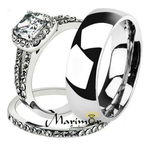 His & Her 3pc Stainless Steel 1.80 Ct Cz Bridal Set & Men's Classic Wedding Band