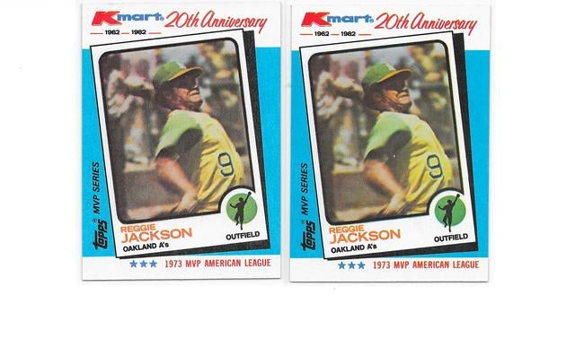 (2) Reggie Jackson Cards - (HOF 1993) - 1982 Topps Kmart 20th Anniversary MVP (1973) Card # 23 - ( 14 X All Star & 5 X World Champion & 2 X MVP + 4 X AL Home Run Leader) - No reprint here
