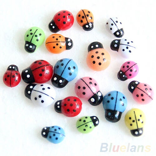 100Pcs Colorful Mini 3D Wall Stickers Home Decor Kid Toys DIY Ladybird Ladybug