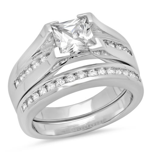(#63) Set Of 2 18k White Gold Plated 1.94 Cttw Round And Princess Cut Cz Stones Engagement And Band Ring