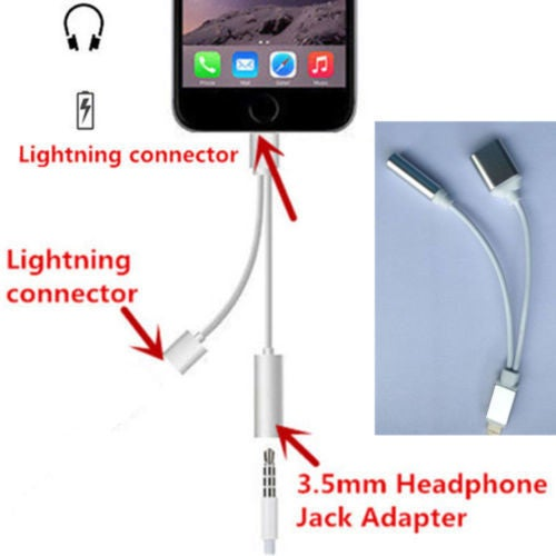 2 in 1 Lightning to 3.5mm Headphone Jack Adapter Charge Cable For iPhone7 & 7Plus