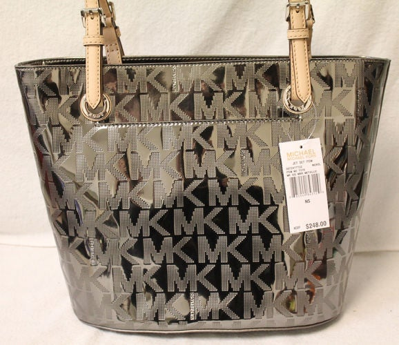 8d7a5a4371d3 ... discount michael kors jet set sig metallic mirror nickel tote 5e5b0  05cd2