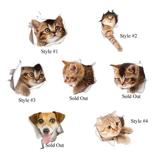 Cute Cat Removable Decal Stickers Home Decor - For Walls, Toilet Lid, Kids Rooms