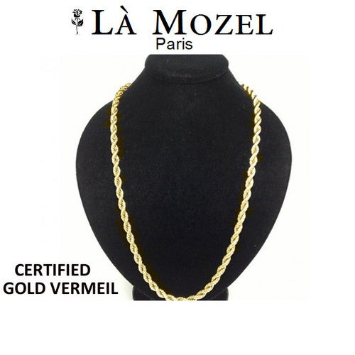 "Gorgeous Italian HandCrafted 18K Gold Over Sterling Silver Diamond Cut Rope Chain - 22"" - Limited Signature Collection"